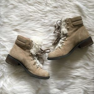 [Sam Edelman] Darrah 2 Faux Fur Trim Boot Nude Tan